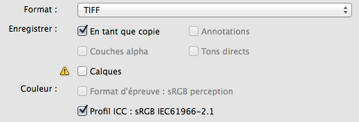 SubliPix Photoshop options Enregistrer sous TIFF